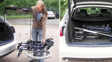 Dvižna roka za pospravljanje invalidskega vozička v prtljažnik